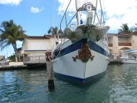 Schiff mit Bugfigur, Jolly Harbour, Antigua